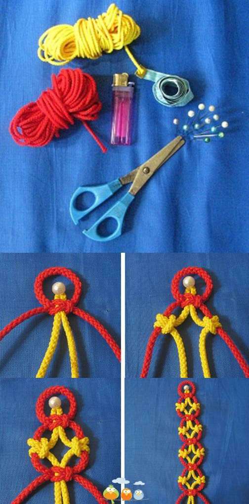 A basic Macrame pattern, click for the link. I like the tutorial being in different colors, it's easy to follow.