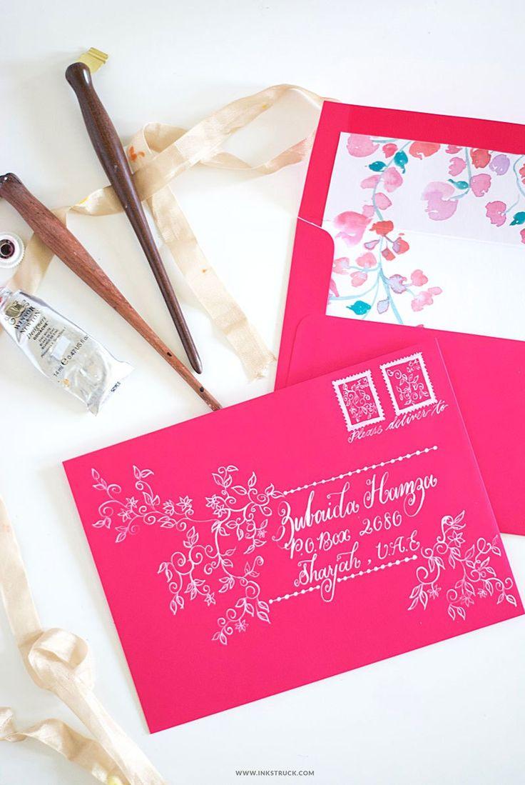 handwrite or print wedding invitation envelopes%0A DIY ENVELOPE ART WITH GOUACHE