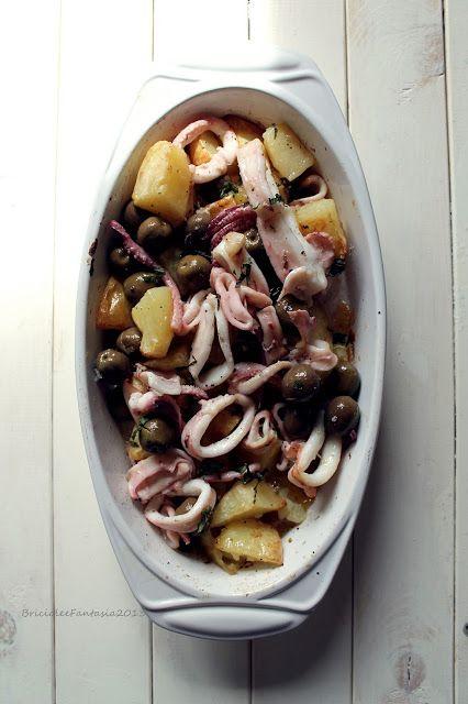 Calamari al forno con Patate