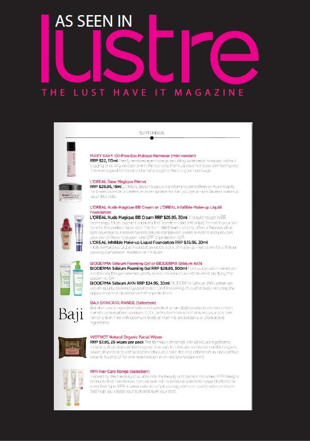 WOTNOT Facial Wipes were featured as 'office obsessions' in Lustre!