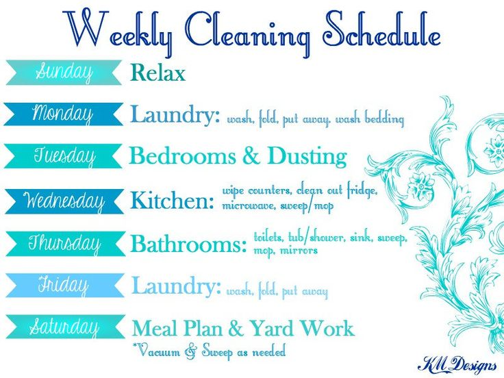 Weekly Cleaning Schedule - Weekly Cleaning Chart - Cleaning Chart - Cleaning Schedule - Weekly Cleaning Schedule Chart by KMDBoutique on Etsy