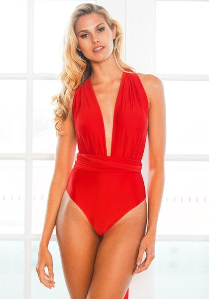 Swimwear // With this red multiway swimsuit, you can style more in just one piece.