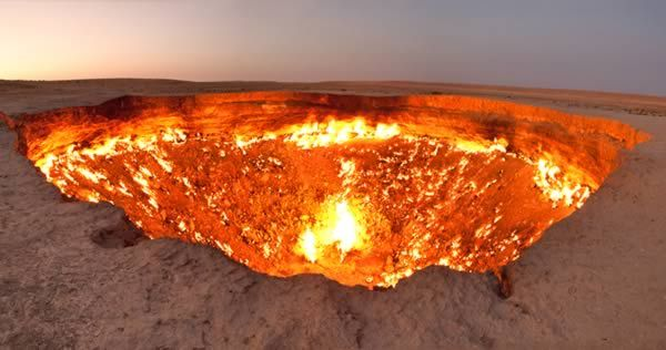 Doorway to Hell, Turkmenastan. This place is the result of using explosives to excavate a research site thirty odd years ago. The blast ignited natural gas vents and has burned ever since.