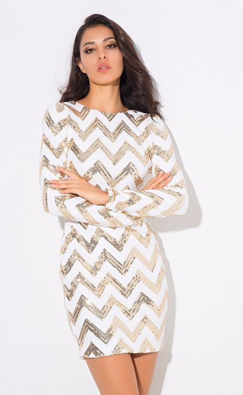 bbcf32569b31 Retro Chevron Sequin Dress | SOMETHING | Dresses, Sequin dress ...