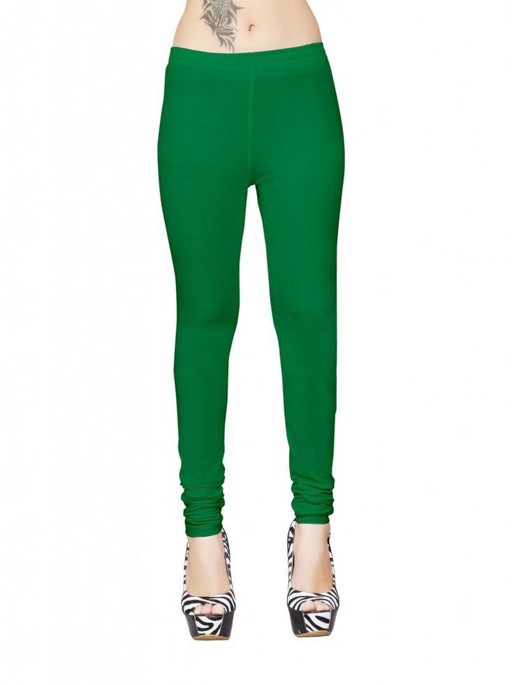 Green Cotton Lycra Biopolish Full Length Leggings