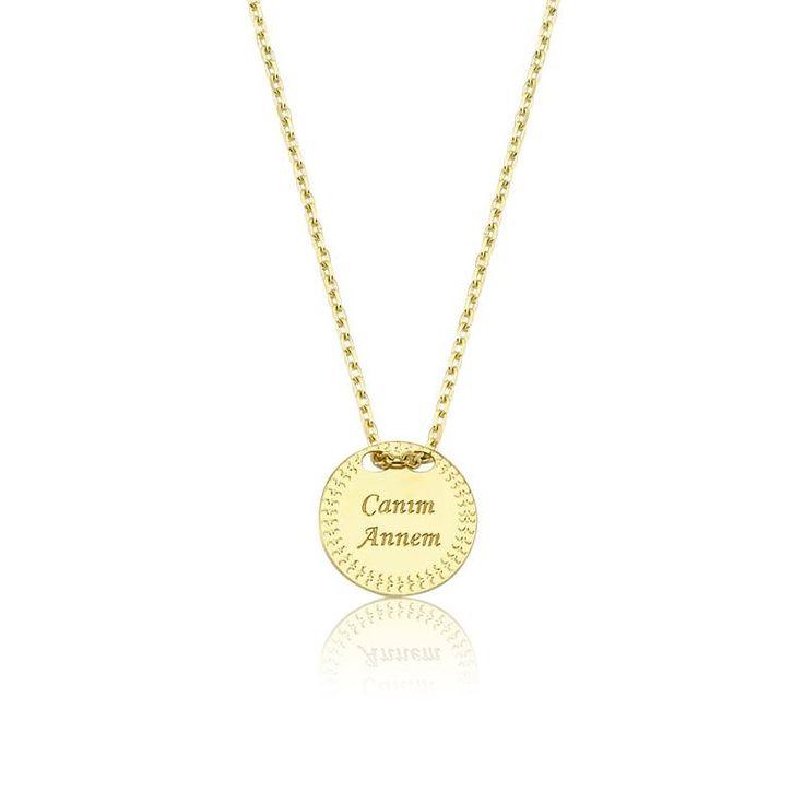 """Altın """"Canım Annem"""" Kolye #altınbaşlife #kolye #altın #takı #tasarım #hediye #gift"""