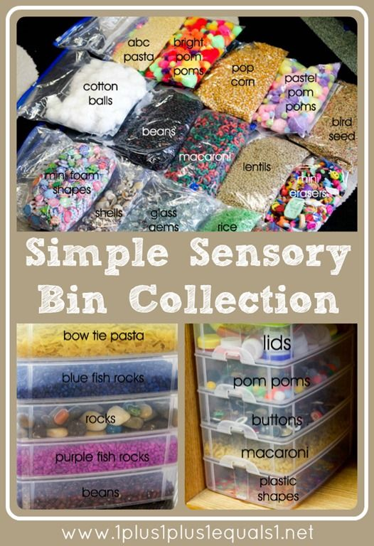 Items to use for sensory play, ideas for storing the items, and links to how and why!