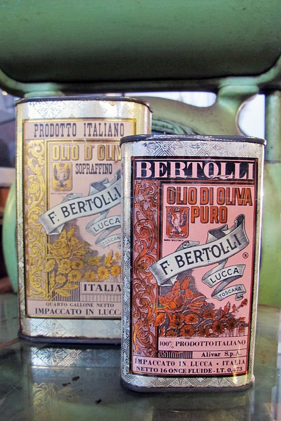 Vintage Bertolli olive oil tin cans