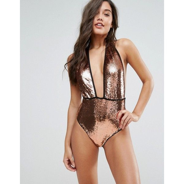 PrettyLittleThing Bronze Sequin Swimsuit (5015 RSD) ❤ liked on Polyvore featuring swimwear, one-piece swimsuits, brown, tall one piece swimsuit, sequin bathing suit, open back bathing suits and plunging neckline swimsuit