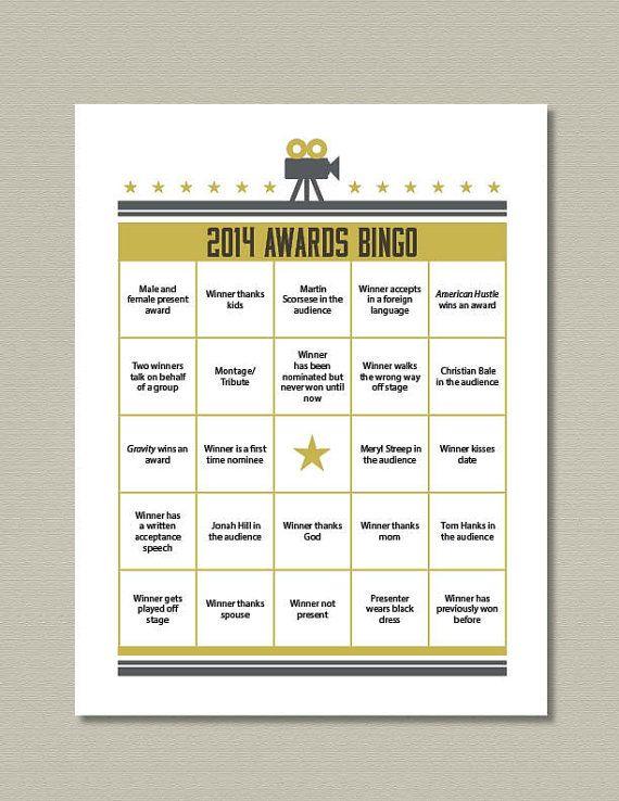 2014 Oscar Bingo Game Printable by getpartychic on Etsy, $7.99