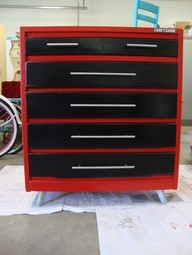Turn an old dresser into a toolbox dresser for car themed bedroom.