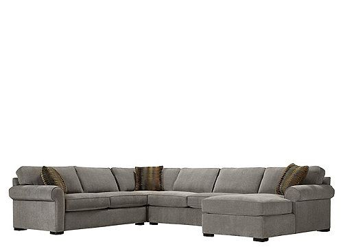 You want spacious seating with tailored style—and above all, enduring design. The Kipling 4-piece chenille sectional sofa delivers with crisp clean lines and details like roll arms, piping and a subtle herringbone pattern. The neutral, easy-care upholstery adapts to any decor, or you can draw upon the autumnal tones of the striking accent pillows for inspiration. With so many combined seating options, you're guaranteed to find a comfortable corner to call your own.
