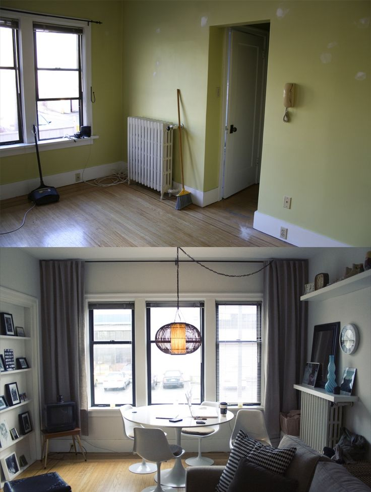 Transformations on a small budget and space are a possibility... love this curtain placement idea. It gives the room such a grander feel.