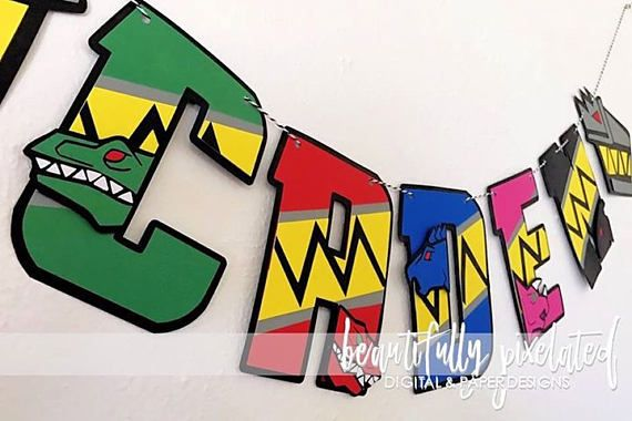 Power Rangers Dino Charge Birthday Name Banner  Birthday