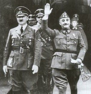 Catholic General Franco was close ally with another Roman Catholic, Nazi-leader Adolf Hitler.