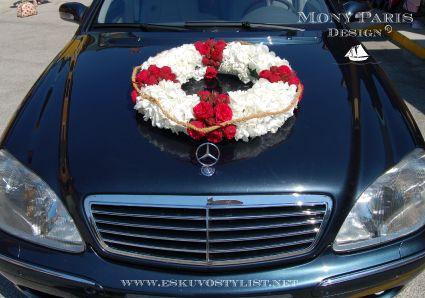 Tengerparti esküvő stílus, tengerész stílus, matróz stílus (autódísz)