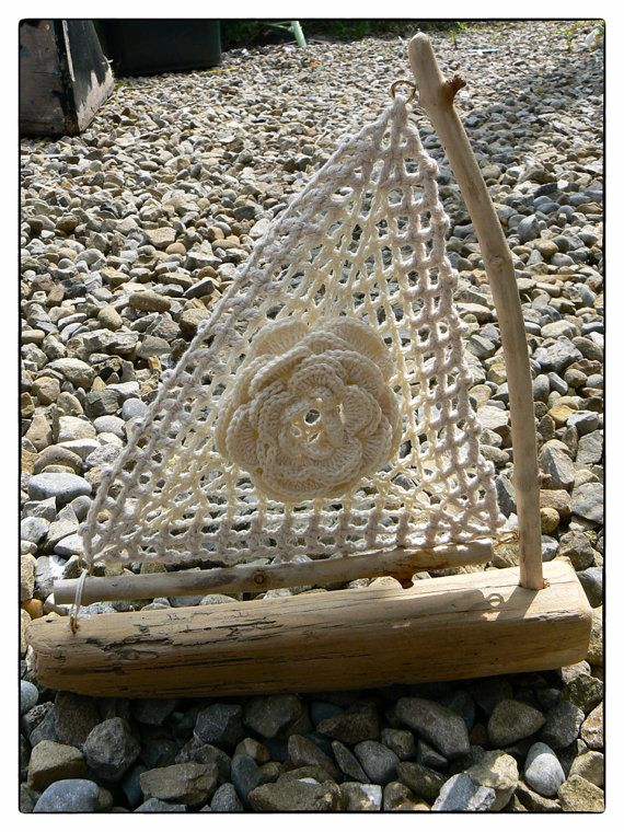 Crochet Driftwood Sail Boat III - Nautical Seaside Beach       ♪ ♪ ... #inspiration #crochet  #knit #diy GB  http://www.pinterest.com/gigibrazil/boards/