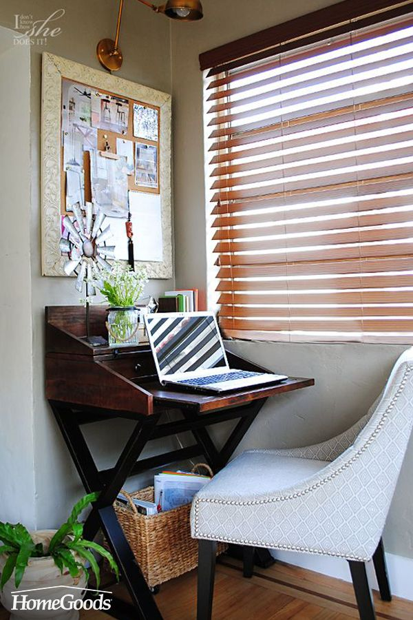 Short on office space? Build from it vertically. From wall storage to pendant lighting, even a small space can be fully functional and personal. Check out how to make the most of your home office on the blog.
