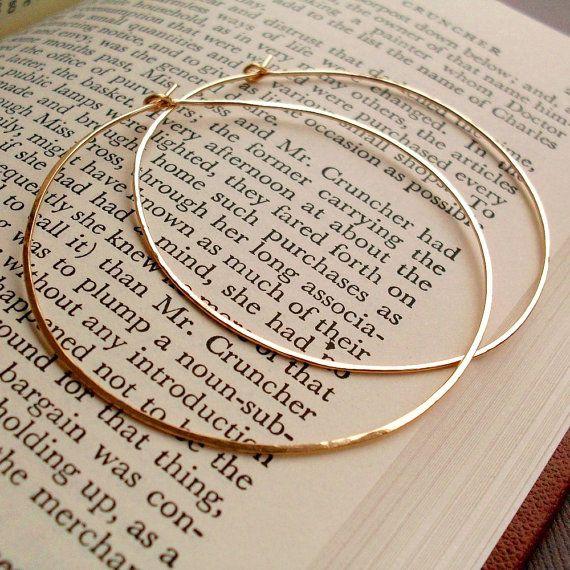 Large Gold Hoop Earrings Hammered Gold Hoops Large by PamelaCurran
