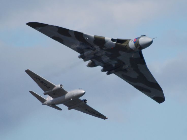 Avro Vulcan Bomber (xh558 at Newcastle) with British Electric Canberra