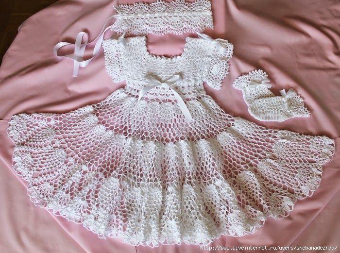 Crochet y dos agujas: Vestido de bautismo al crochet