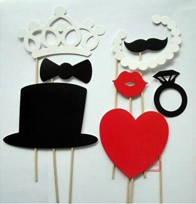Listing is for (1) order of 8 Piece Wedding Photo Booth Reception Props on a Stick Decoration Favors You will receive the following: White Crown, Pearl Necklace