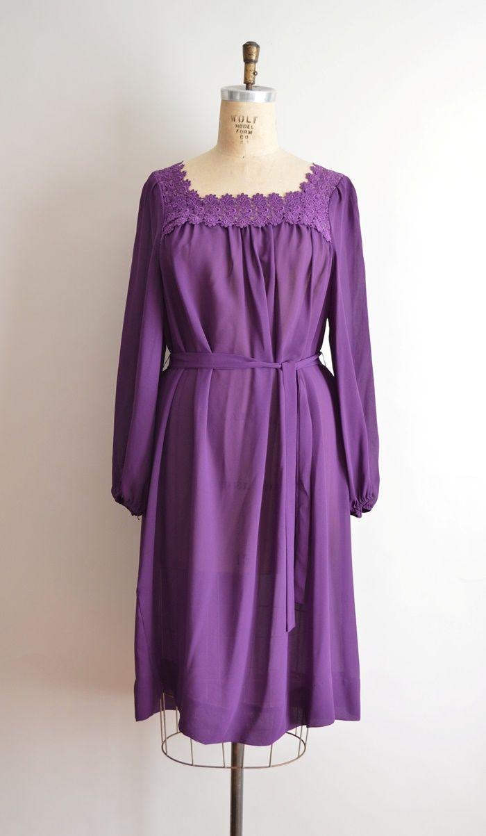 70s purple plus size dress