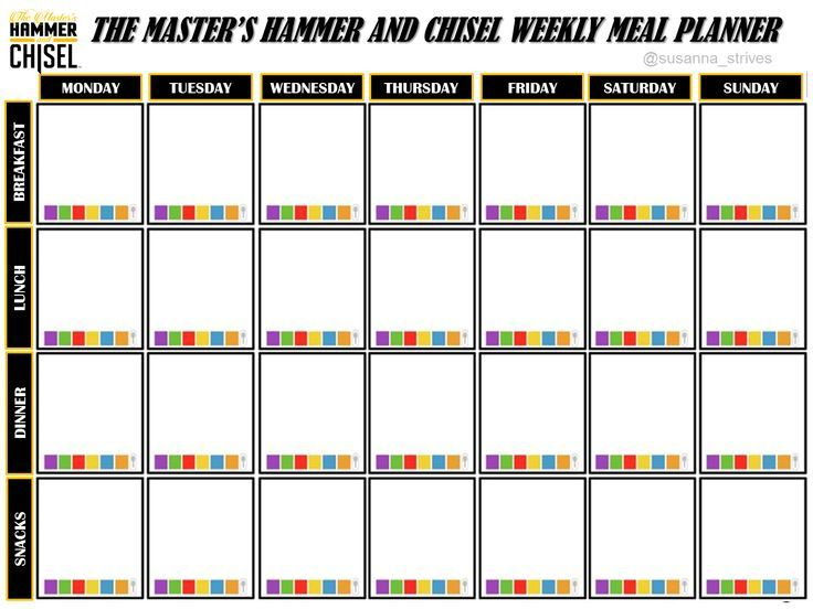 The Master's Hammer and Chisel Weekly Meal Planner ...