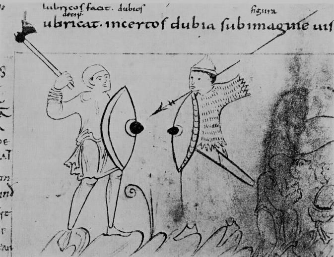 Good-Works fights Avarice. Psychomachia 'Conflict Of The Soul', Anglo-Saxon, British Library, MS Cotton Cleopatra C VIII, c.1000