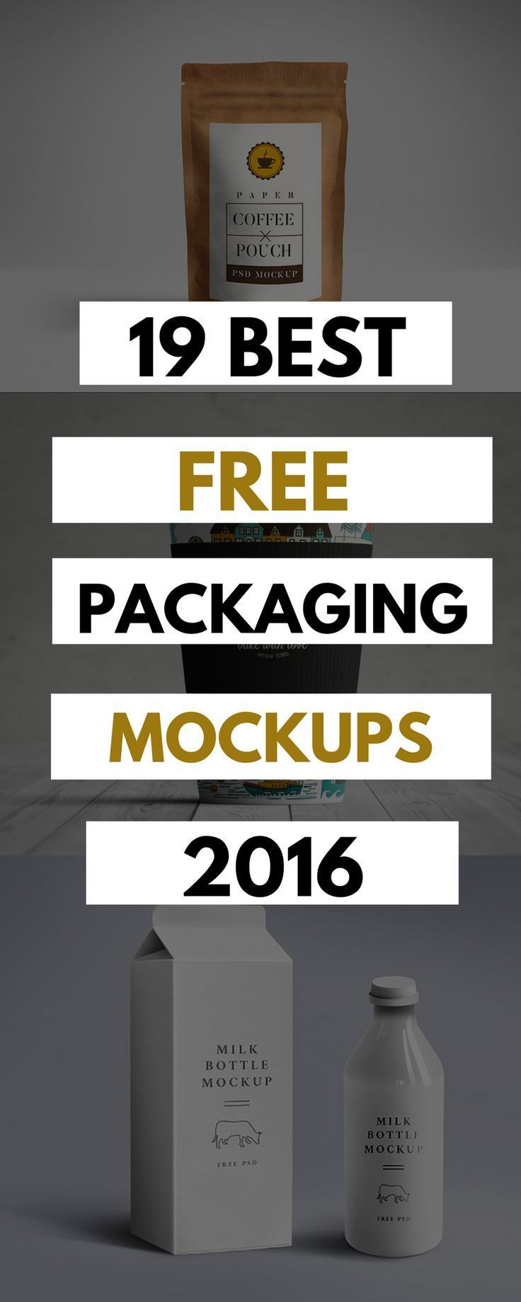 Download 19 of the best free packaging mockups of 2016. Easily editable and complete with shadows, layers, highlights and smart objects.