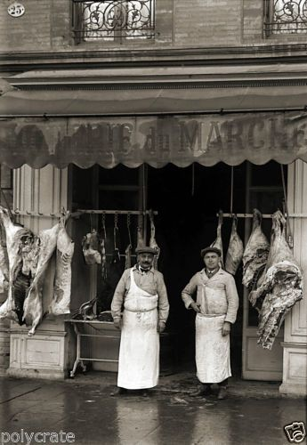 Photo Ancien Commerce Toulouse Boucherie Charcuterie DU Marché Repro AN 1920