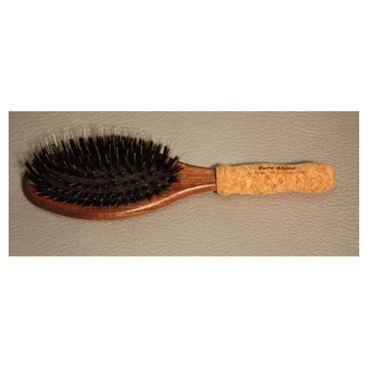 EuroShine Large Oval Cork Grip Boar Bristle Brush - REG-BRUSH-13429
