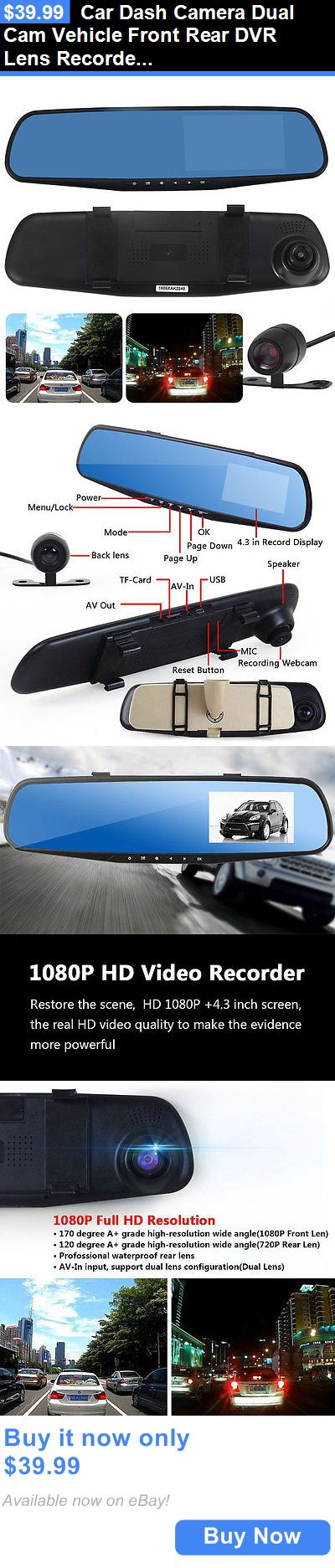 Digital Video Recorders Cards: Car Dash Camera Dual Cam Vehicle Front Rear Dvr Lens Recorder Hd Video 1080P BUY IT NOW ONLY: $39.99
