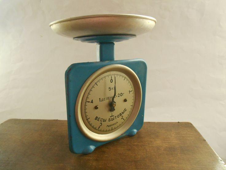 Soviet vintage scale Blue kitchen scale USSR era 1970s Rustic Kitchen Scale Farmhouse Primitive Scale (46.00 USD) by TasteVintage