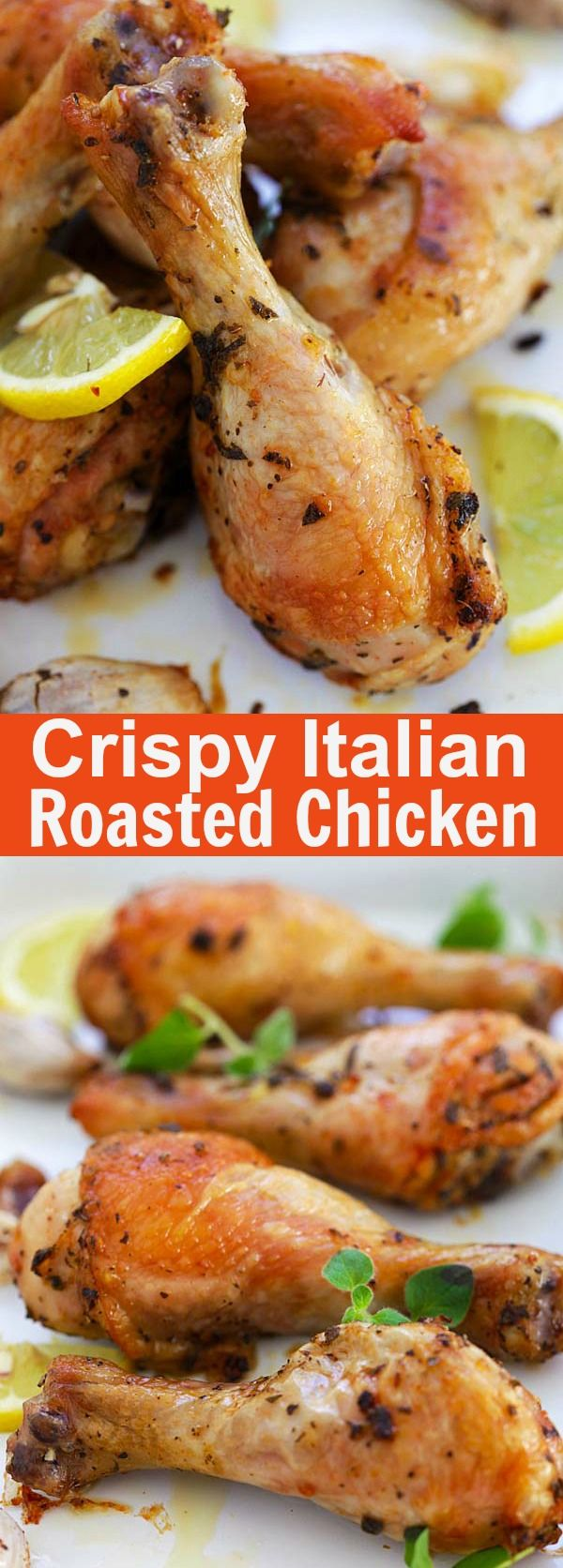 Italian Roasted Chicken - roasted chicken drumsticks marinated with Italian herbs and seasonings. Crispy, delicious and so easy to make | rasamalaysia.com