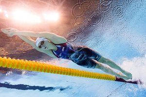 The USA's Katie Ledecky races in a heat of the women's 200m freestyle. Photograph: Francois-Xavier Marit/AFP/Getty Images