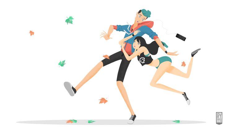 #art #drawing #doodle #vector #stylized #character #teen #couple #hug #autumn #illustration