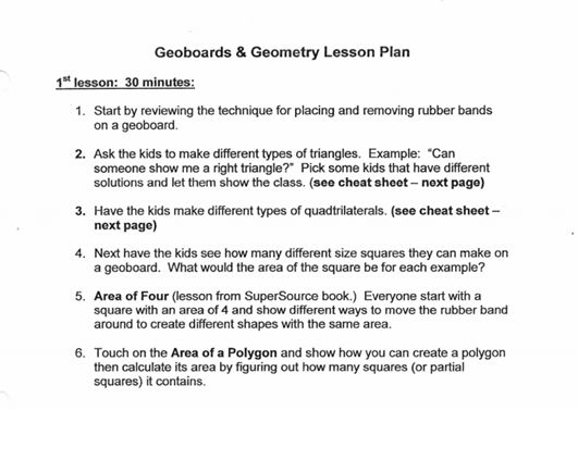 geoboards http://www.lwsd.org/school/wilder/PTSA/Enrichment-Activities/MathAdventures/Documents/Fifth%20Grade/Area%20of%20Four-Area%20of%20Polygons%20-%20opt.pdf