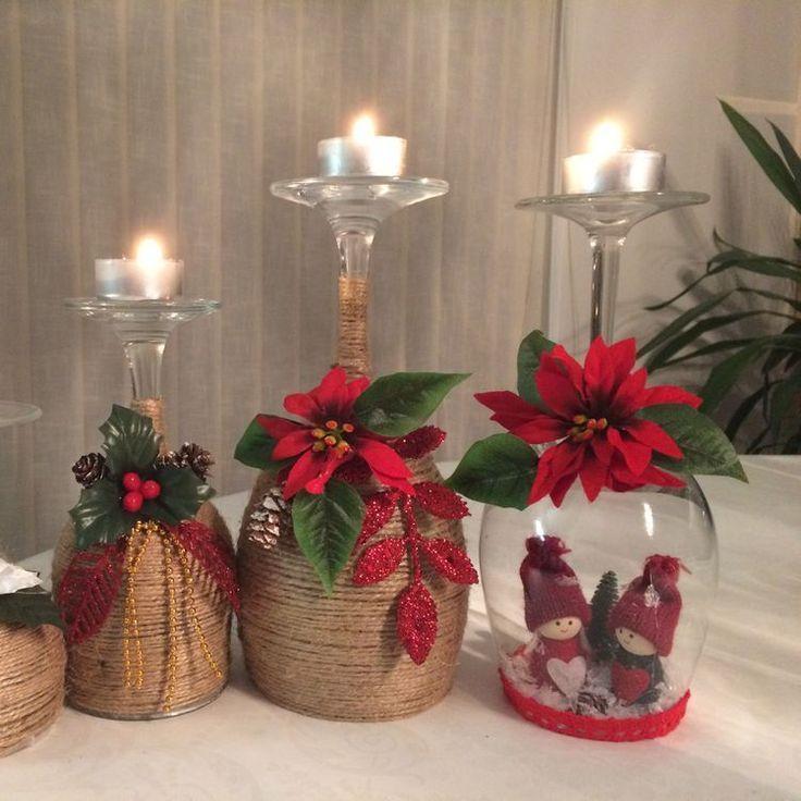 Christmas wine glass candle holder; DIY home decor ideas; Merry Christmas…