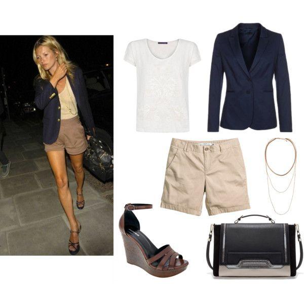 """Kate Moss to ikona stylu, która potrafi łączyć, z pozoru proste fasony ubrań, w taki sposób, że zawsze wygląda w nich olśniewająco. Warto podejrzeć """"jak ona to robi"""" i zainspirować się.   T-shirt: Mango Marynarka: United Colors of Benetton Spodenki: H&M Naszyjnik: H&M Buty: Wojas Torebka: ZARA"""