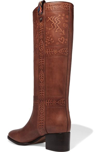 Valentino - Embossed Leather Knee Boots - Tan - IT