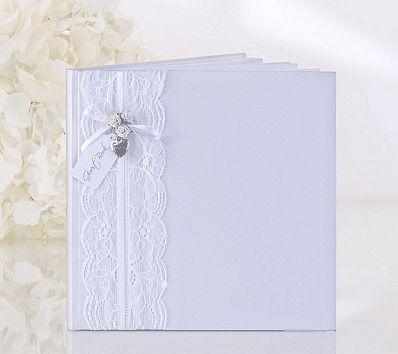 Svatební kniha hostů - s krajkou a růžičkami