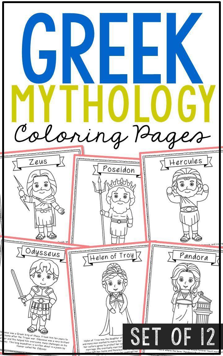 Greek Mythology Coloring Pages Easy Craft Activities Zeus Poseidon Hercules Apollo Athena Atla Greek Mythology Lessons Greek Mythology Greek Mythology Stories