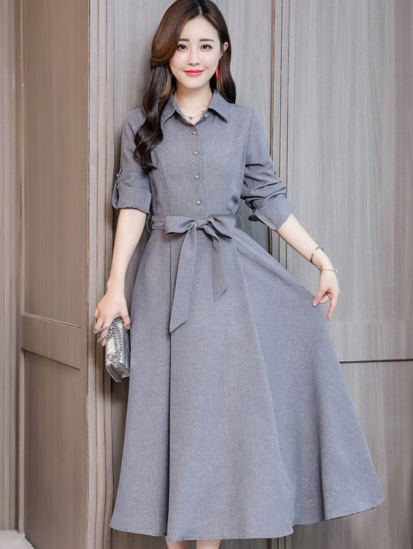 2019 的 Korean Style Binding Bow Solid Maxi Dress 主题 Maxi