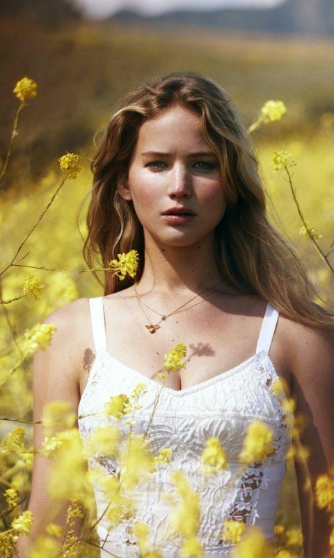 Jennifer Lawrence, celebrity, yellow flowers, outdoor, 480x800 wallpaper
