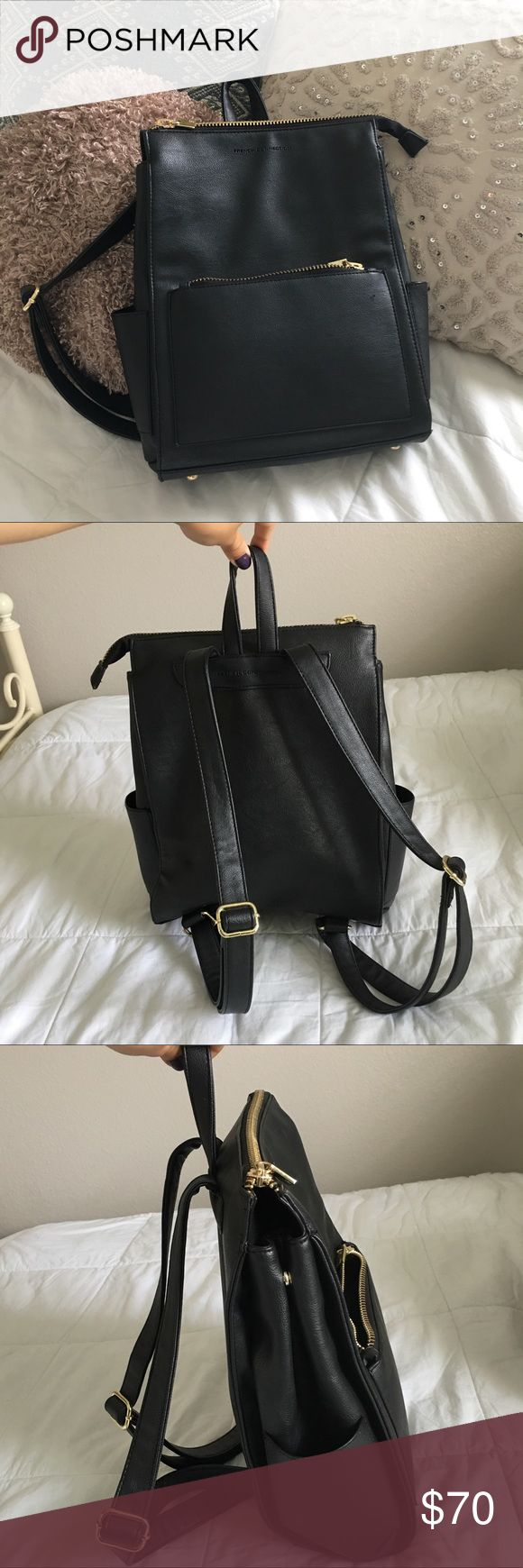 French Connection Leather Backpack Purse Only used a couple of times. Brand new condition. Adjustable snaps on the side to make it bag expand bigger. Lots of pockets, can fit a lot, and super cute ! Originally bought from asos. 😊💕 French Connection Bags Backpacks