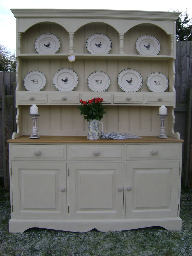 Pine Dresser (USA Hutch) painted in ASCP 'Old Ochre'