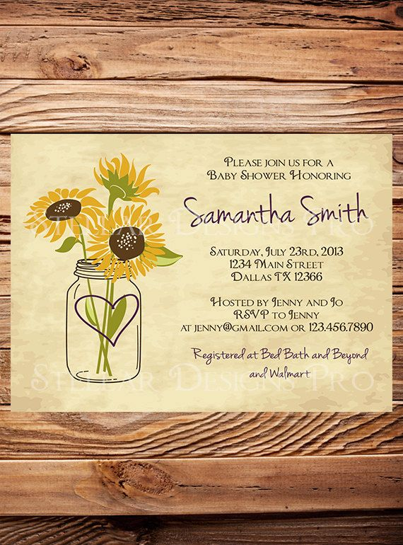 Hey, I found this really awesome Etsy listing at https://www.etsy.com/listing/155975645/sunflower-mason-jars-baby-shower