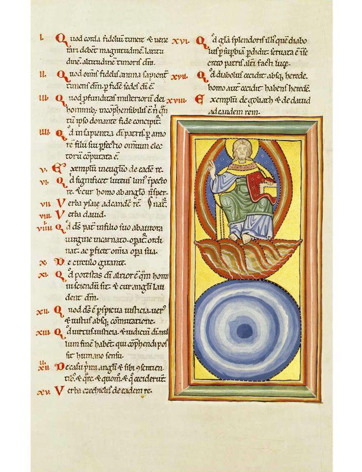 Hildegard von Bingen scivias19 Eerste visioen van het Derde Boek. God zelf, die woont in het Oosten. Hildegard ziet daar een hoog oprijzende rots van ijzerkleur, hier als van bovenaf gezien voorgesteld door blauwe en witte cirkels.  Fear of God (the blue sphere) and God enthroned upon man's faith.
