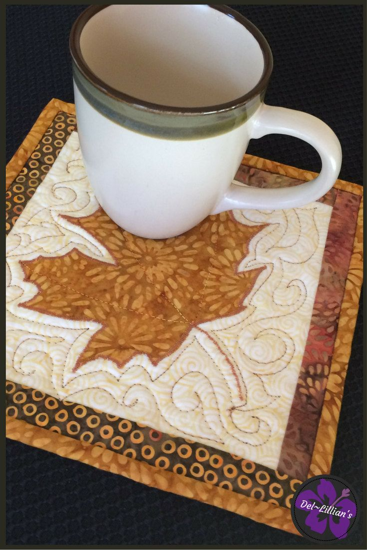 Autum Mug Mat, Quiltsy Handmade,Mug Rugs, Mug Mats, Coasters, Mini Wall Hangings, Quilted Wall Art, Snack Mat, by DelLillians on Etsy